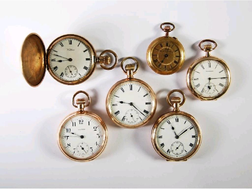 WALTHAM ROLLED GOLD HUNTER POCKET WATCH;