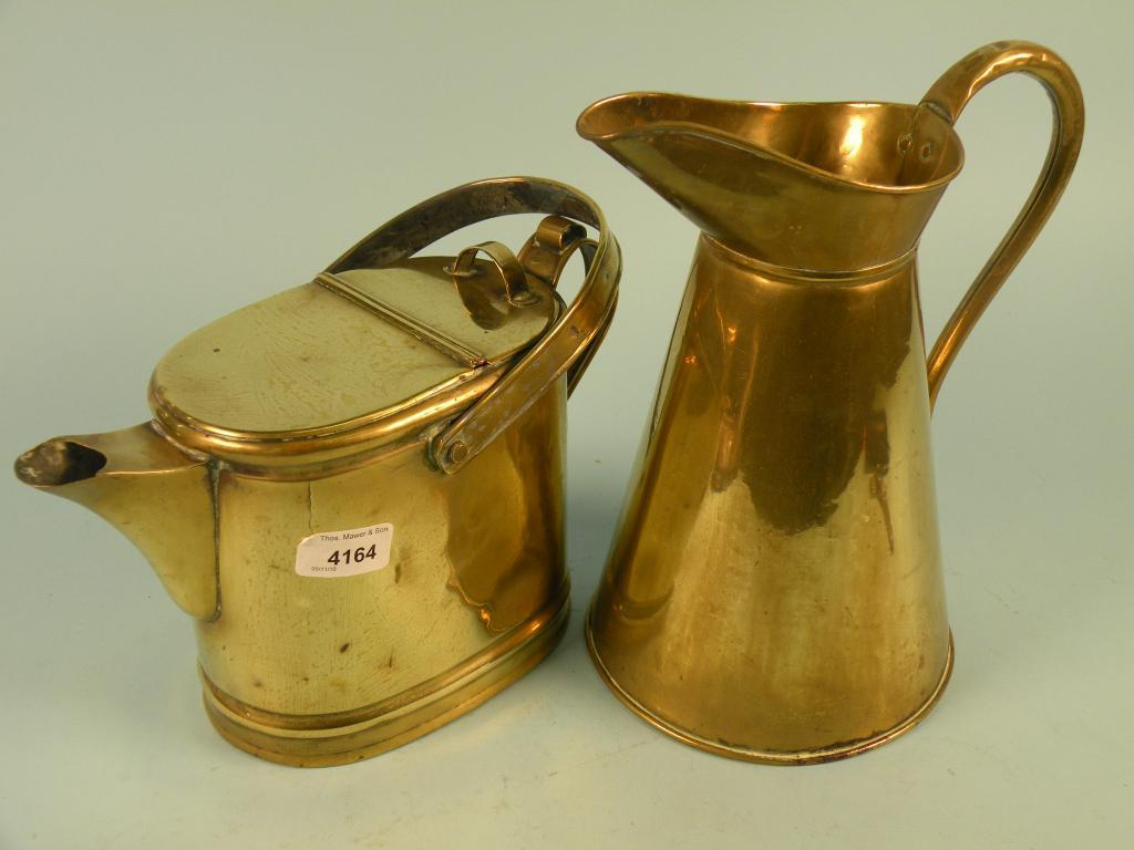 A Victorian brass watering can/hot water