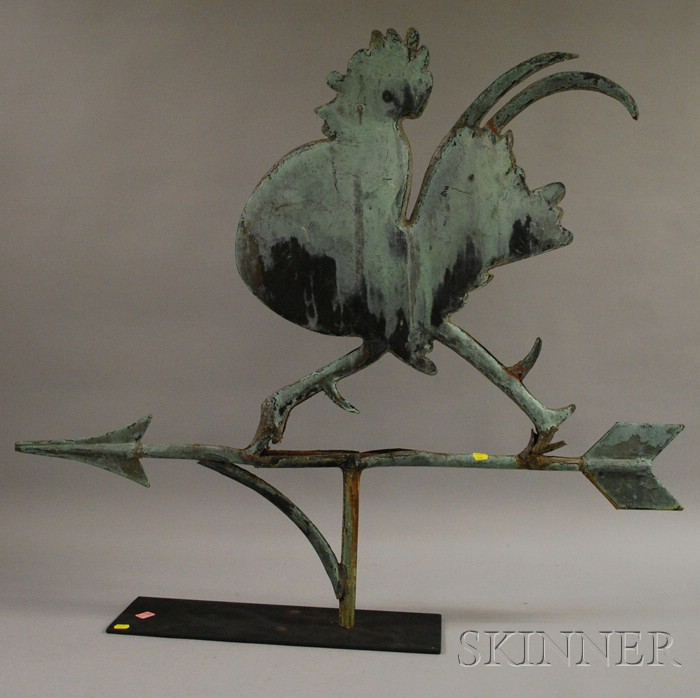 Patinated Molded Copper Strutting Rooster