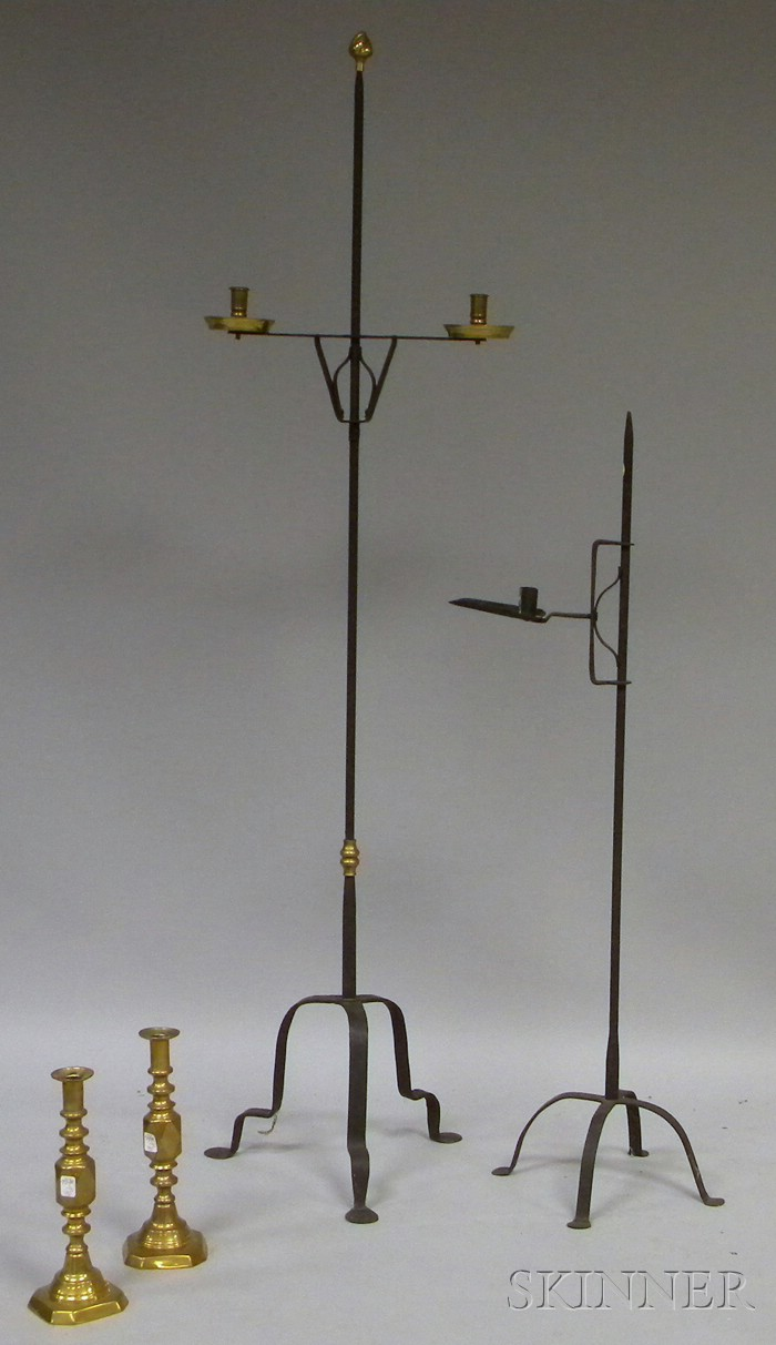 Wrought Iron Adjustable Floor Candlestand,