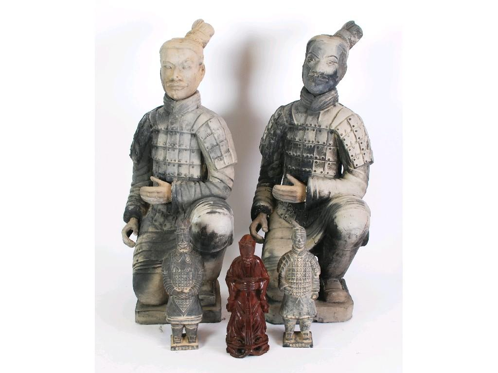 TWO MODERN CHINESE EARTHENWARE REPLICA FIGURE