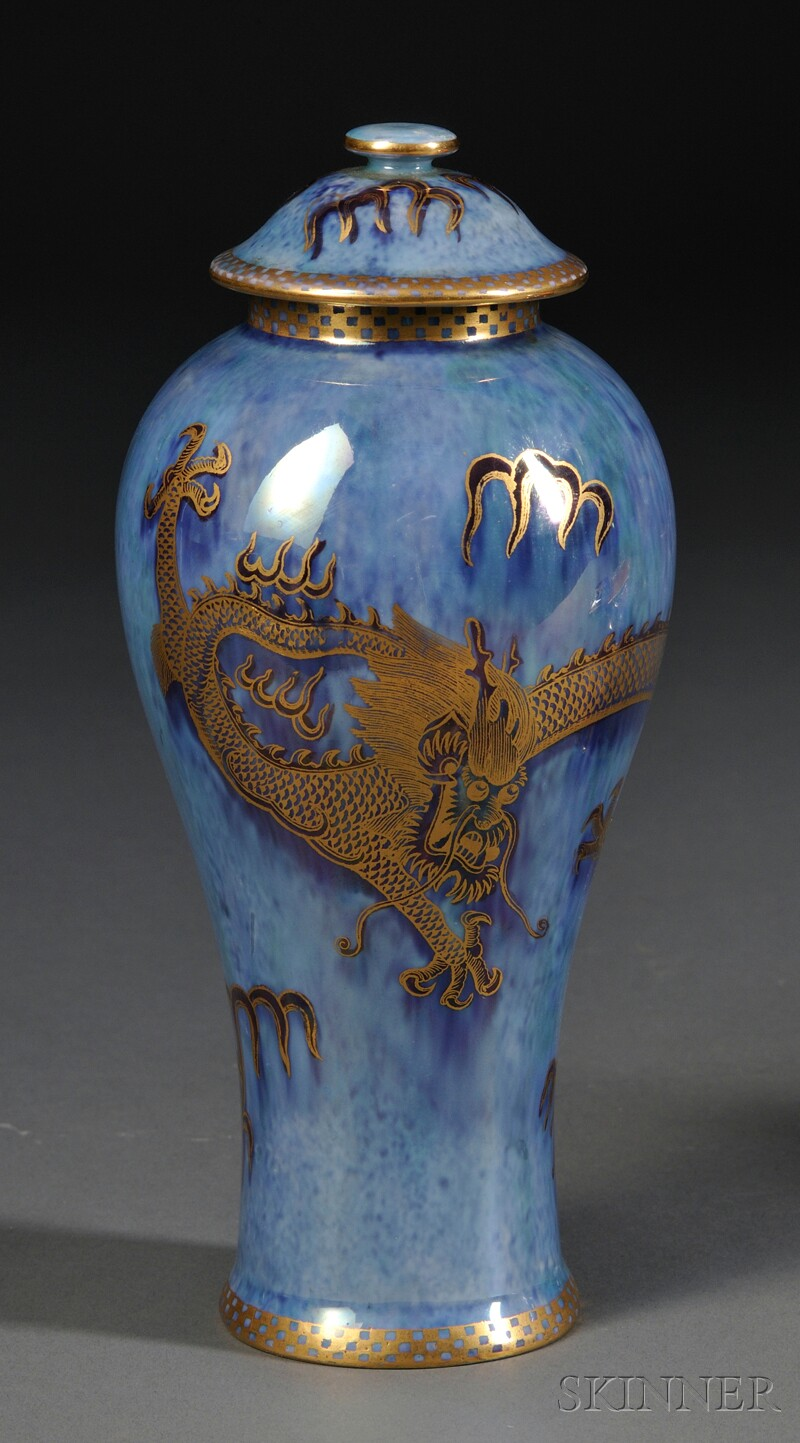 Wedgwood Dragon Lustre Vase and Cover, England,
