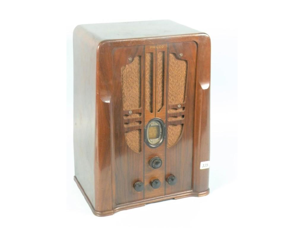 A Philco radio in the Art Deco style in a