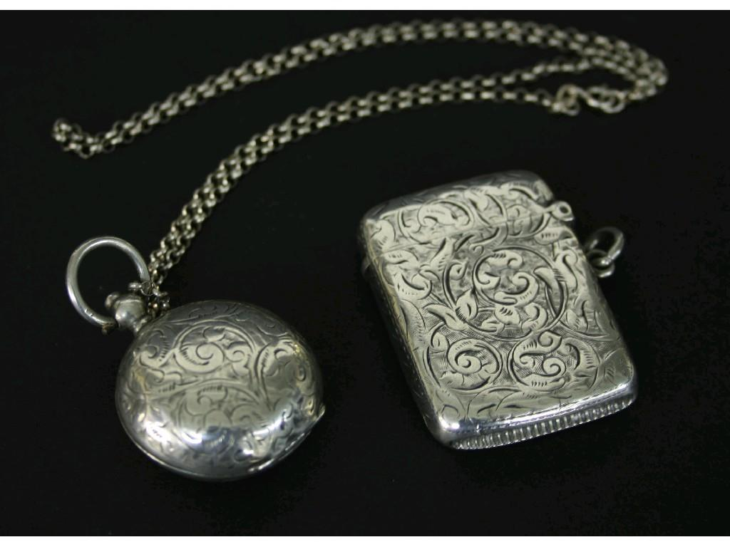 Late Victorian engraved silver vesta case,