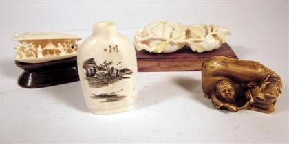 Four Chinese ivory carvingsComprising two