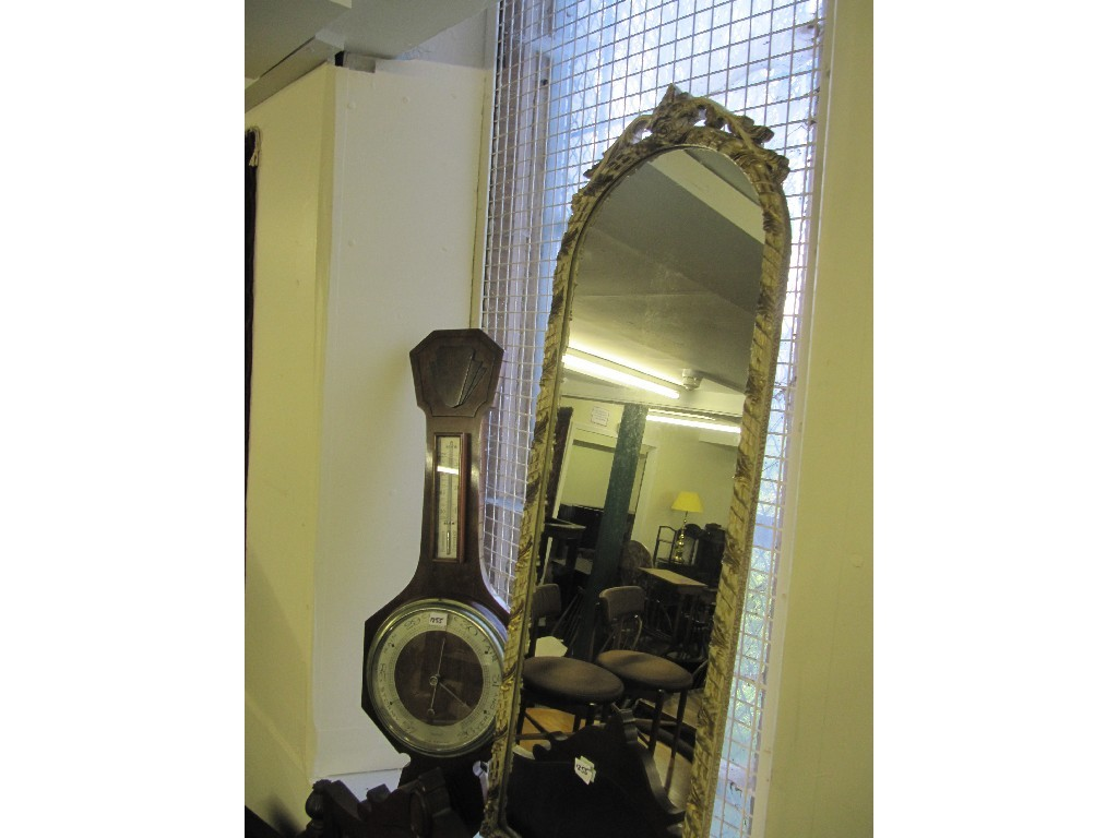 Mahogany shield shaped dressing mirror, barometer