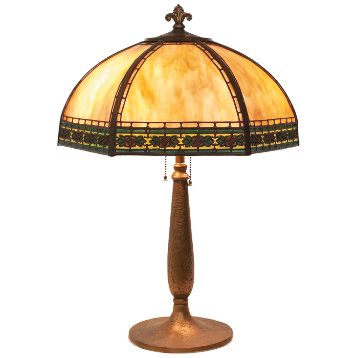 Handel table lamp  six sided shade withcaramel