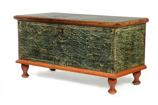 DECORATED BLANKET CHEST WITH FRAKTUR.  Pennsylvania