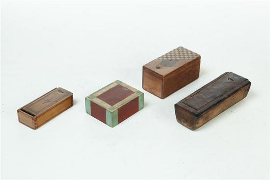 FOUR MINIATURE WHIMSEY BOXES.  American