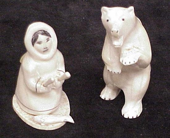 Two Inuit ivory carvings  a 3 1/2'' standing
