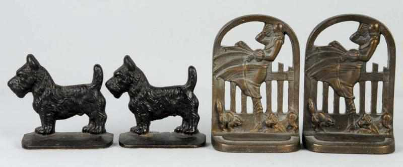Lot of 2: Cast Iron Pairs of Scottie Bookends.