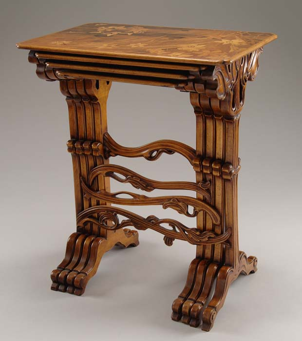 GALLE MARQUETRY NESTING TABLES. Outstanding