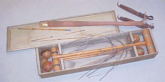 Vintage croquet set  a pair of wooden ice