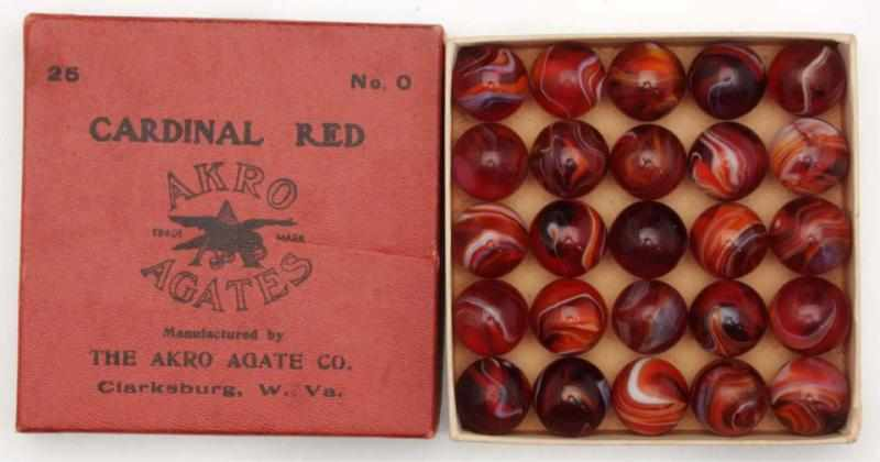Akro Agate No. 0 Box of Cardinal Red Marbles.