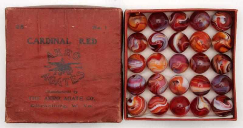 Akro Agate No. 1 Box Set of Carnelian Red