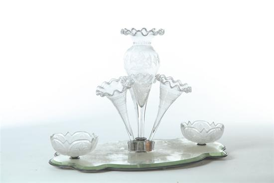 BLOWN AND ENGRAVED EPERGNE CENTERPIECE.