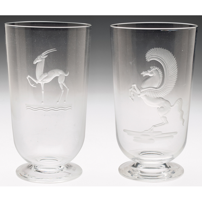 Price Guide For Steuben Vase Clear Glass With An Etched