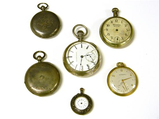 WATCHES: Six pocket watches including: Wittnauer