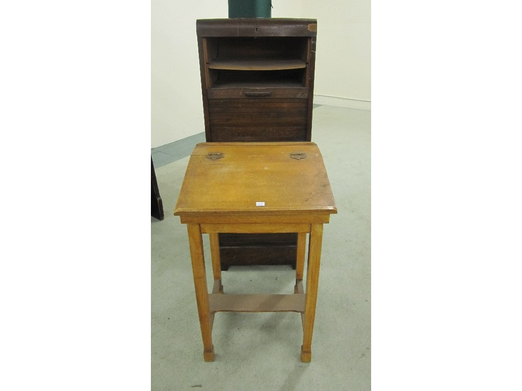Oak filing cabinet with tambour front and