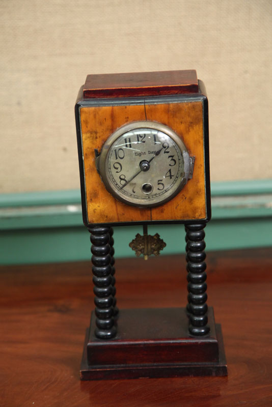 SMALL GERMAN MANTLE CLOCK. Eight day clock