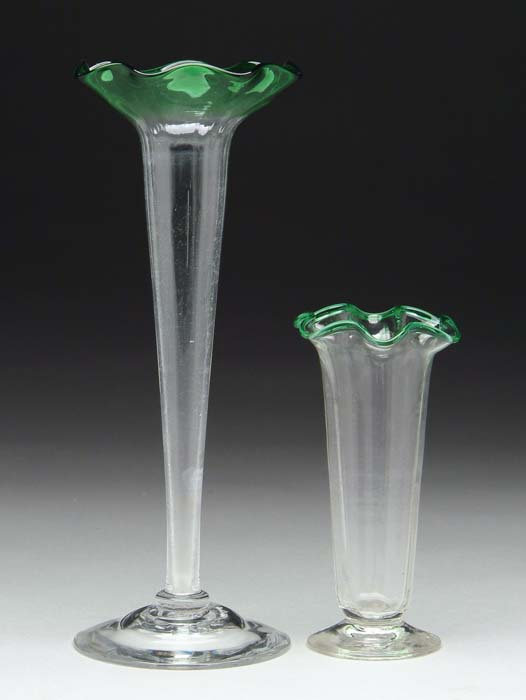 TWO BUD VASES. 1) Steuben vase with vertical