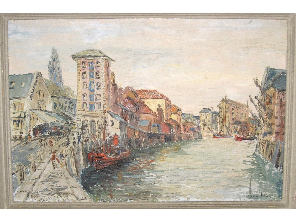 GEORGE HANN Oil on board Continental harbour