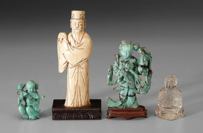 Four Chinese carved figures: ivory scholar,