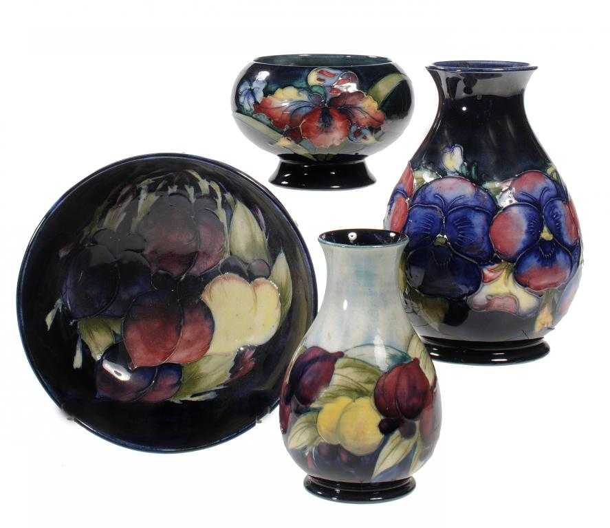 TWO MOORCROFT VASES AND TWO BOWLS, DESIGNED