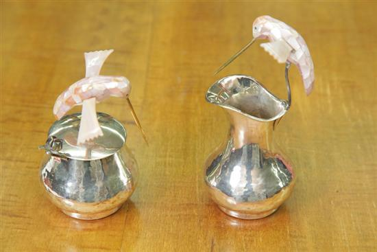 SILVER CREAMER AND SUGAR WITH PINK MOTHER