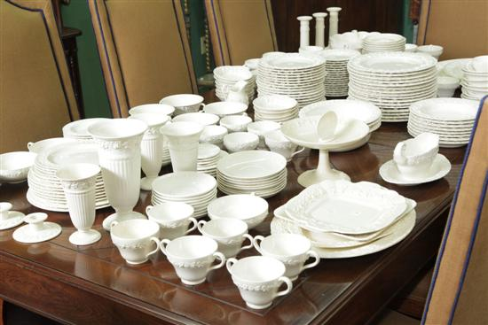 ASSEMBLED SET OF WEDGWOOD EMBOSSED QUEENSWARE.