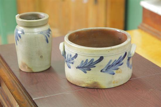 TWO STONEWARE CROCKS WITH COBALT DECORATION.