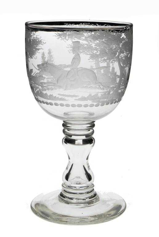 A VICTORIAN ORNAMENTAL GLASS GOBLET