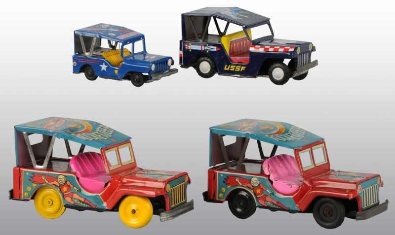 Lot of 4: Tin Litho Space Jeep Friction Toys.