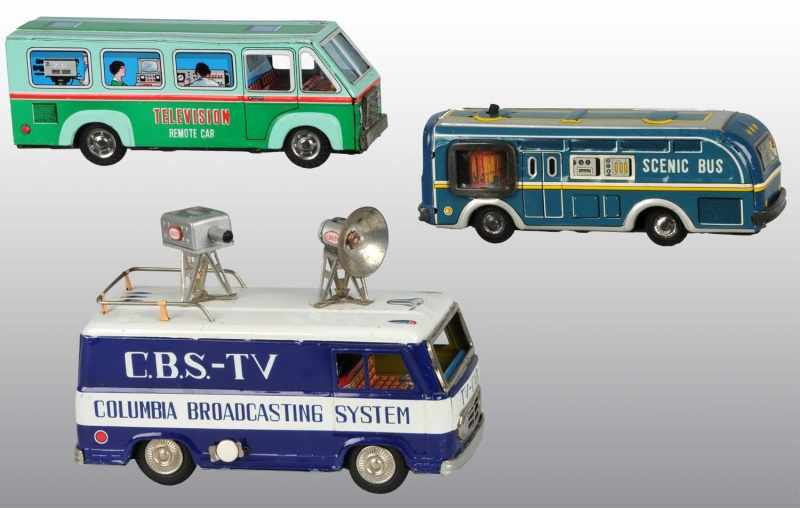 Lot of 3: Tin Television Van Friction Toys.