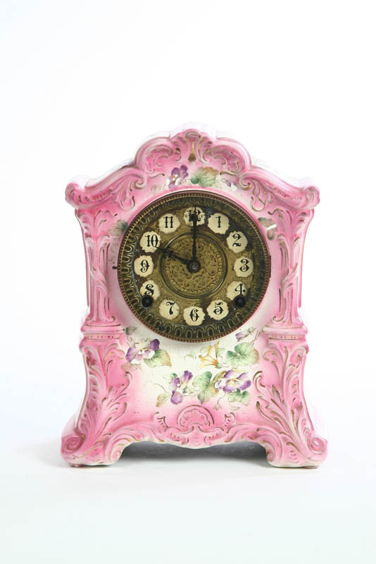 CHINA MANTLE CLOCK. Eight day time and strike