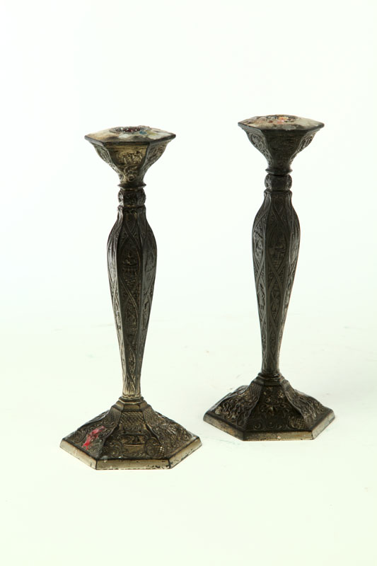 PAIR OF SILVER PLATE CANDLESTICKS.  Netherlands