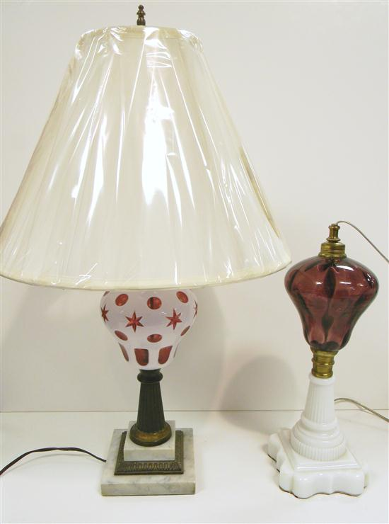 Two table lamps: one Sandwich type cased