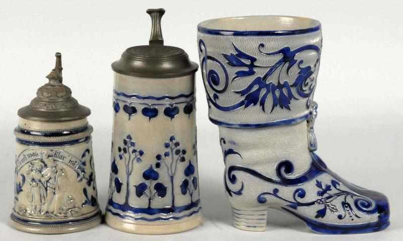 Lot of 3: Gray and Blue German Pottery Steins.