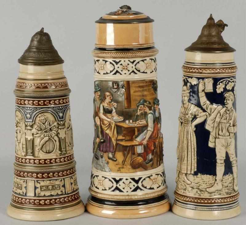 Lot of 3: German Pottery Steins. 