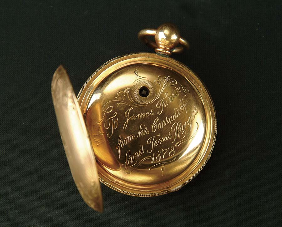 HISTORIC INSCRIBED GOLD POCKET WATCH TO JAMES