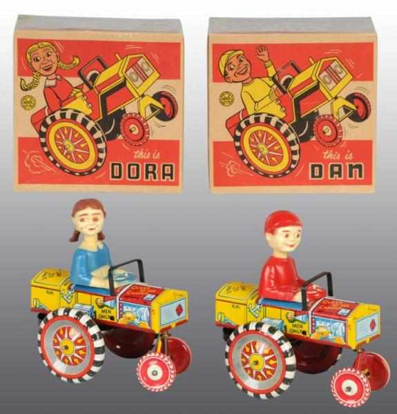 Lot of 2: Tin Marx Dan & Dora Auto Wind-Up