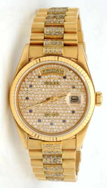 Men's Rolex 18K Y. Gold President Watch.