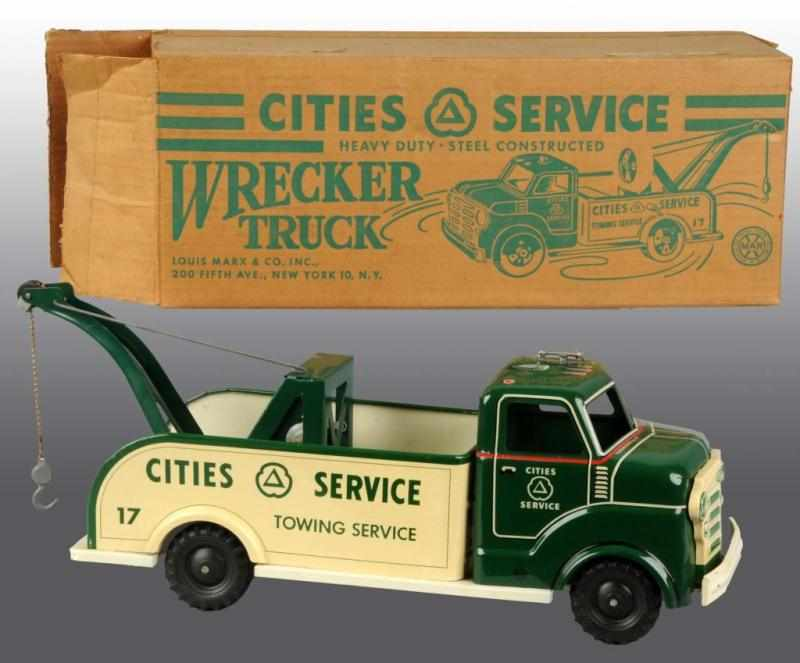 Price guide for Marx Cities Service Wrecker Truck Toy. Description