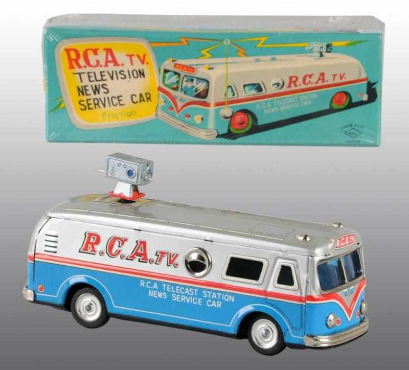 Tin RCA Television Truck Friction Toy. 