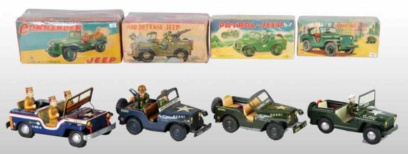 Lot of 4: Tin Jeep Friction Toys. 