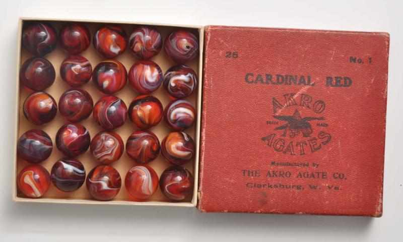 Akro Agate No. 1 Cardinal Red Marble Box