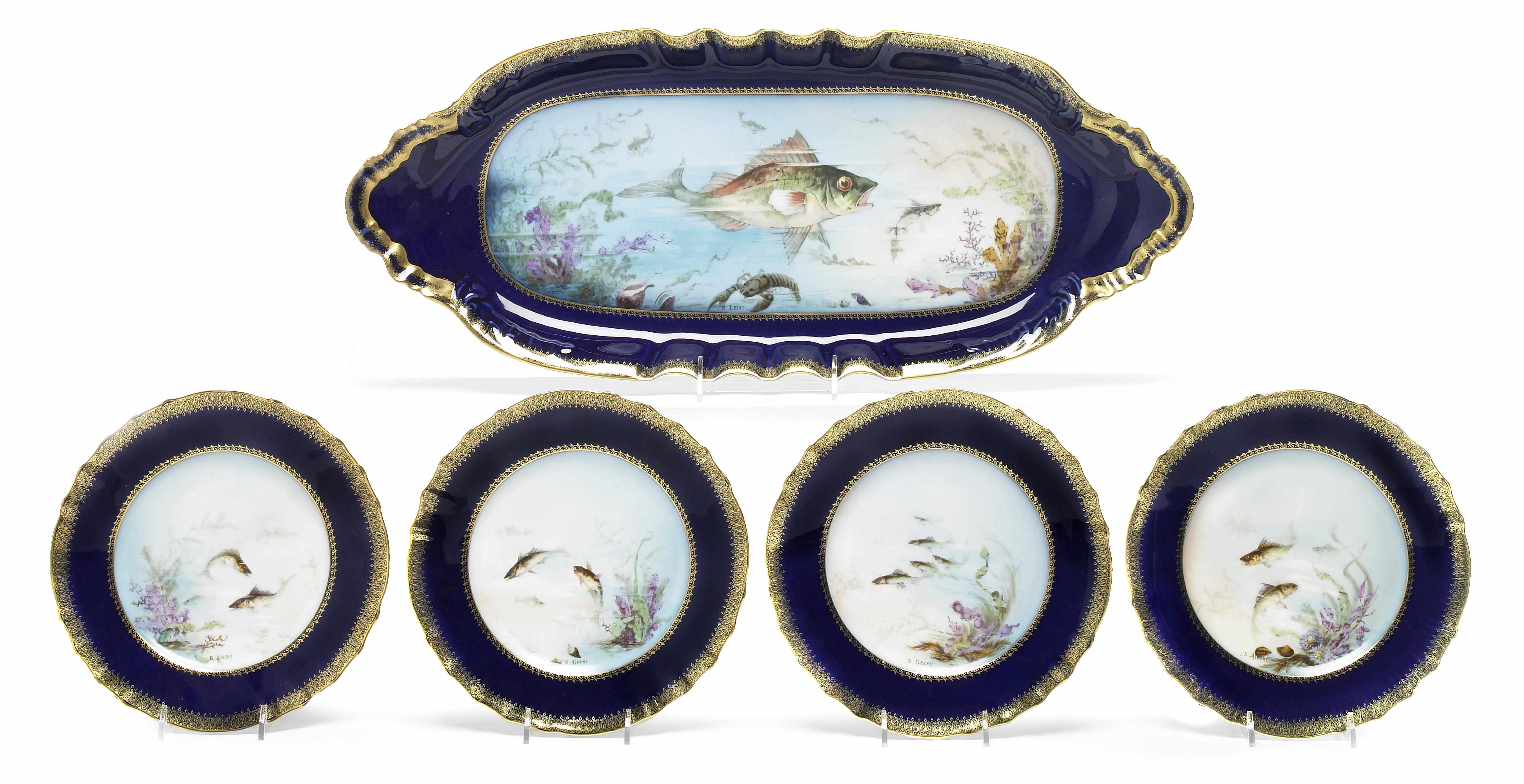 A Haviland Limoges porcelain fish service