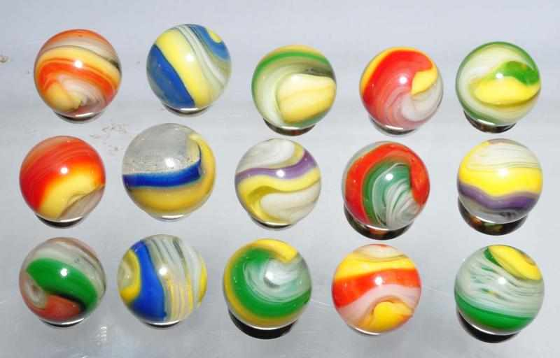 Lot of 15: Akro Popeye Marbles. 