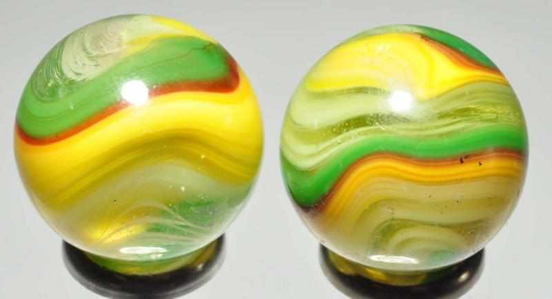 Lot of 2: Fluorescent Akro Popeye Marbles.