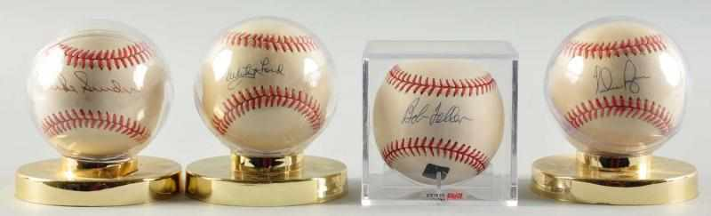 Lot of 4: HOFer Signed Baseballs. 